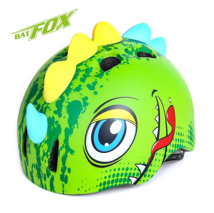 ФОТО BATFOX Kids Cycling Helmet Bike Cartoon Ultralight Integrally-Molded Outdoor Sports Bicycle Skating Helmet Children Safe Helmet