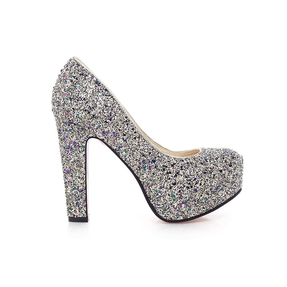 J K 2018 New Brand High Heels Glitter Wedding Shoes Pumps Hot Fashion Thick Heel Platform Woman Size 32 43 In Women S From On