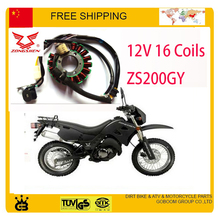 magneto coil zongshen motorcycle stator ZS200GY LZX200GY 2 12V 16coils part free shipping