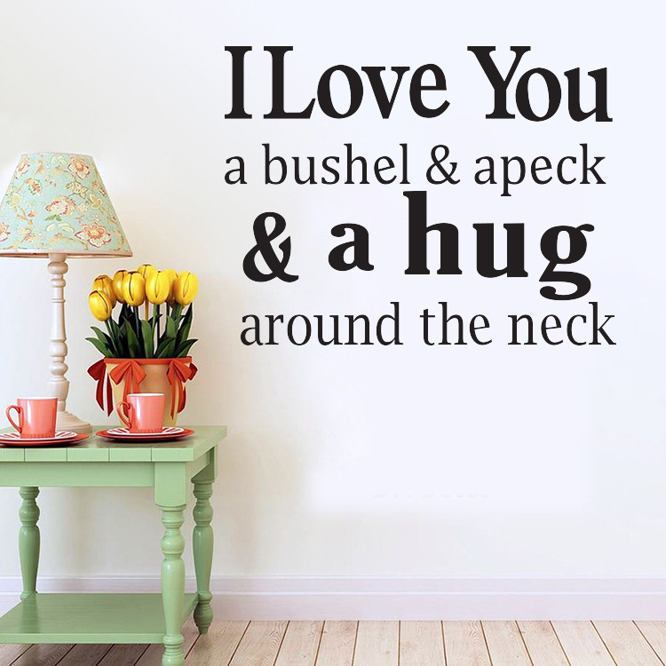 4096 I Love You & a hug quotes Removable Cute Art Characters ...