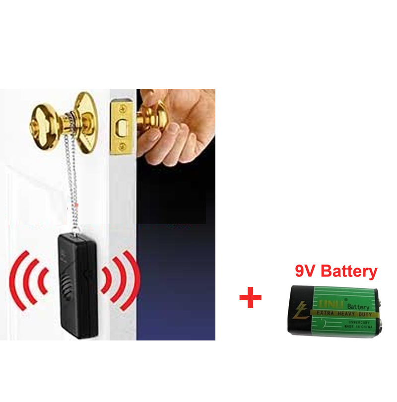 w/ battery door sensor alarm door touch alarm 120 dB anti-theft scaring alarm knob door security siren safety sensor alarm personal guard safety security siren alarm with led flashlight white 2 cr2032