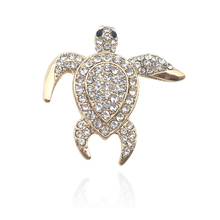 Fashion Exquisite Small Turtle Brooch Jewelry Luxury Rhinestone Cute Sweet Animal Needle Brooch For Women Christmas Jewelry Gift