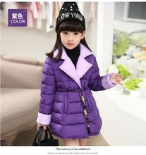 HOT!! 2017 new winter children lapel cotton-padded jacket cuhk girls hit han edition warm coat color cotton quilted jacket