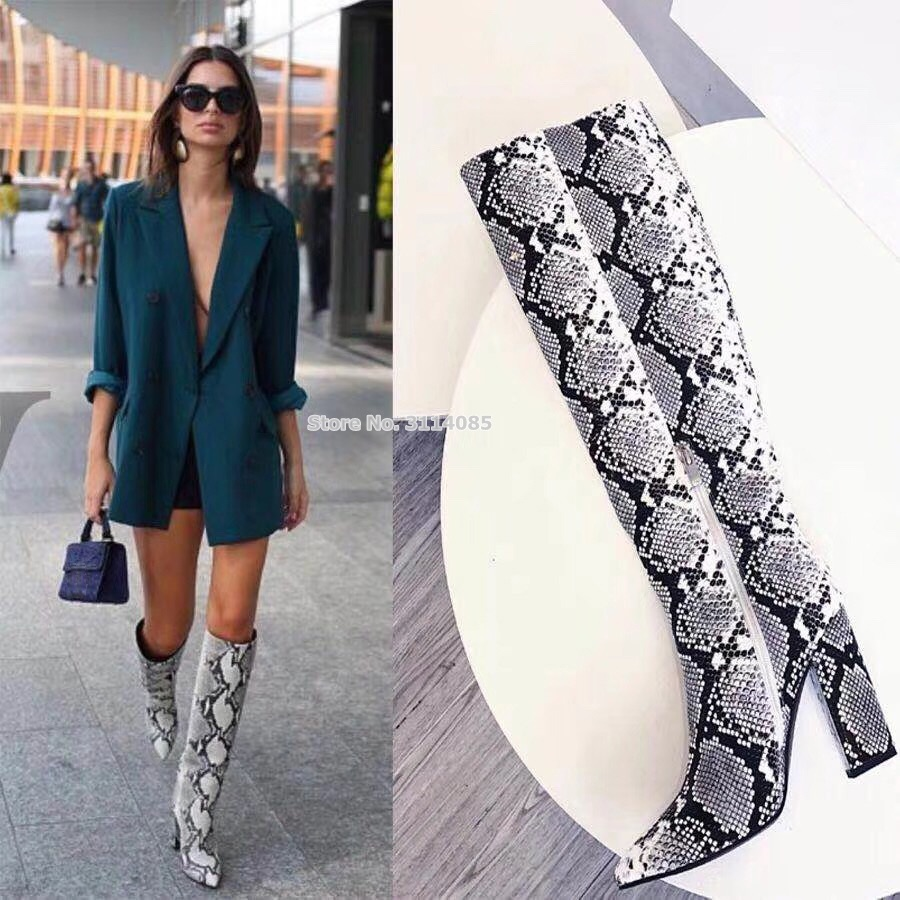 European Ladies Grey Snakeskin Printed Chunky Heel Knee High Boots Pointed Toe Sexy Python Pattern Gladiator Long