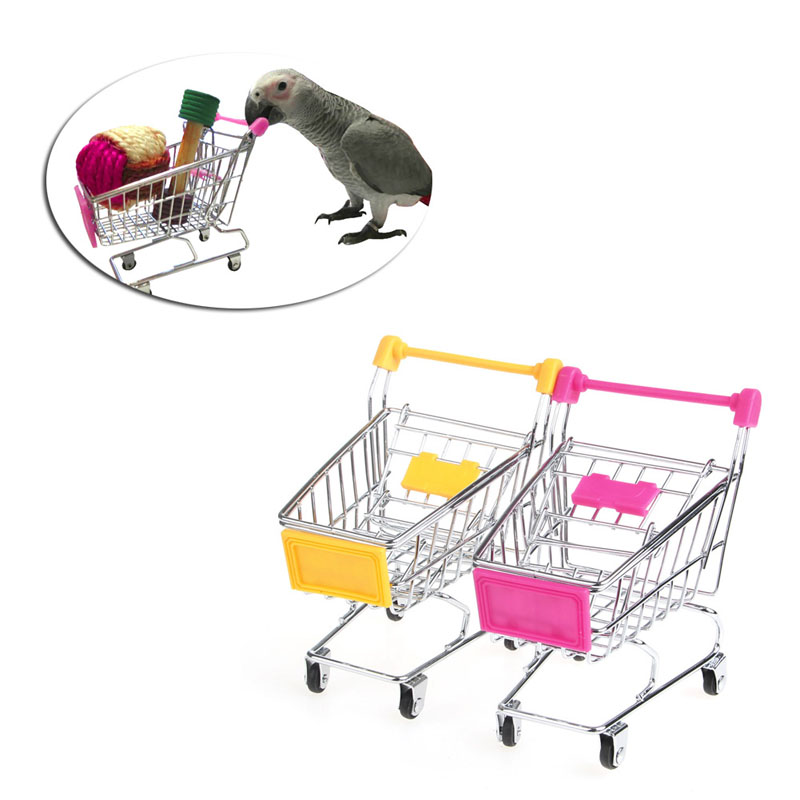 Home & Garden United Creative Desktop Mini Supermarket Shopping Cart Trolley Bird Parrot Pet Toy Phone Holder Baby Toy Gift Random Color