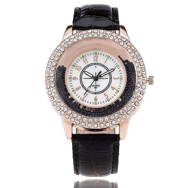 VANSVAR Fashion Women Rhinestone Watch Leather Strap Quartz Watch Reloj Mujer Ho