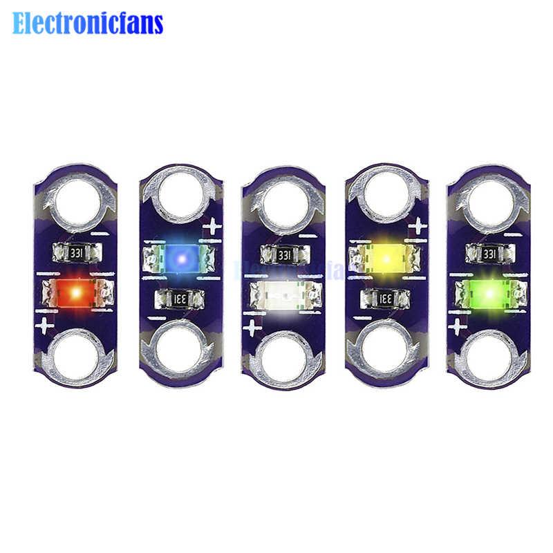 Módulo de luz LED LilyPad de 5 piezas amarillo/verde/Blanco/azul/rojo para Arduino DIY KIT de