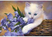 Resin Diy Diamond Painting Cat Cross Stitch White &Purple Flowers 5D Dill Needlework Home Decorative KJ193