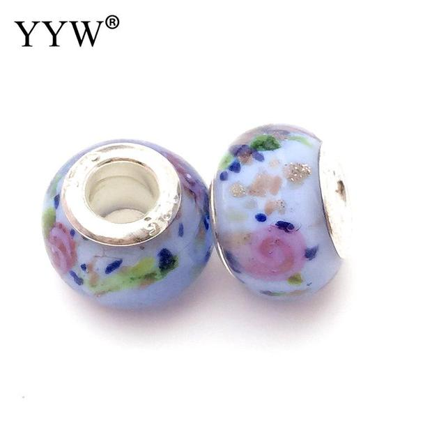 rose flower rondelle lampwork large hole beads charm european beads for diy bracelet jewelry accessories