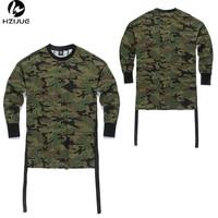 HZIJUE Oversized Long Sleeve Quality Fashion Men Top T Shirt Kanye West Camo Camouflage Hip Hop
