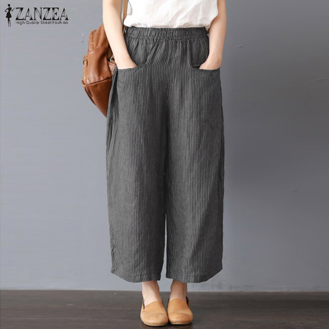 ebb654e0d157 S 5XL ZANZEA Elastic Waist Cotton Linen Loose Pantalon Harem Pants Wide Leg  Pants 2018 Women Casual Striped Work Long Trousers