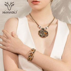 Image 5 - Viennois Coffee Gold Color Colorful Crystals Pendants Necklace Earring Ring Bracelet Jewelry Sets for Women Luxury Party Jewelry