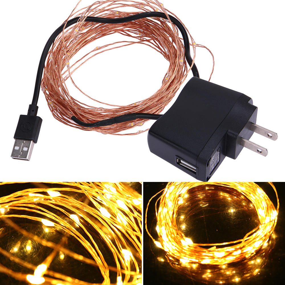 10m 100LED Strip Light 5V USB Waterproof Copper Wire Strip Lights Holiday Lighting Warm White Christmas Wedding Party Decoration