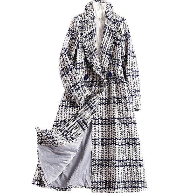Plus Size Korean Style Winter Woolen Coat Turn down Collar Long Sleeve Woolen Jacket Female Version Long Loose Plaid Woolen Coat in Wool amp Blends from Women 39 s Clothing