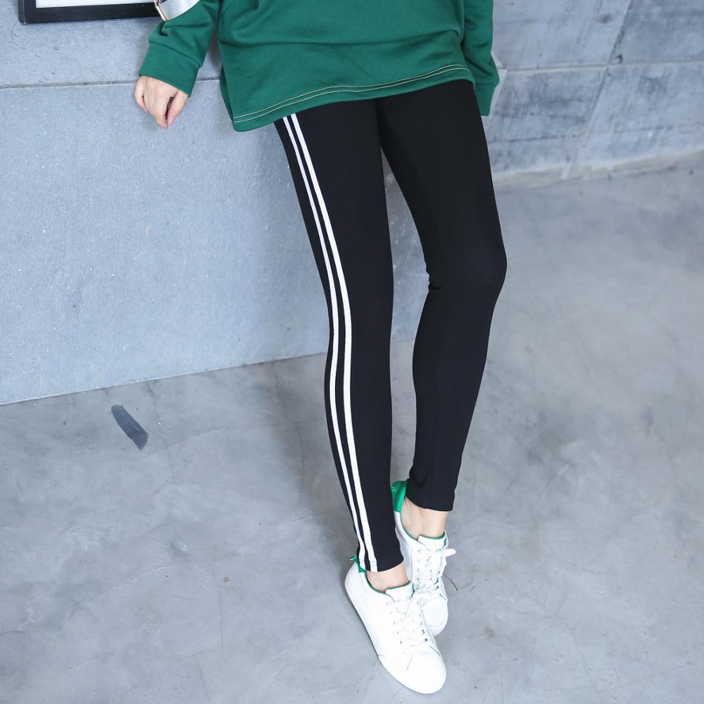 Vagary grande taille côté rayé Leggings femme noir cheville longueur automne bas taille haute Fitness Leggings extensible Slim pantalon