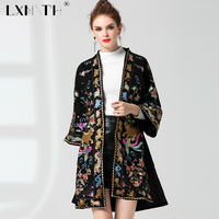 Wool Coat Loose Embroidery Cardigan Women Long Flare Sleeve Jackets For Women V Neck Embroidered Top Split Women's Autumn Jacket