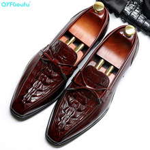 QYFCIOUFU Crocodile Pattern Mens Formal Genuine Leather Oxford Shoes 2019 Dress Wedding Slip-on Suit