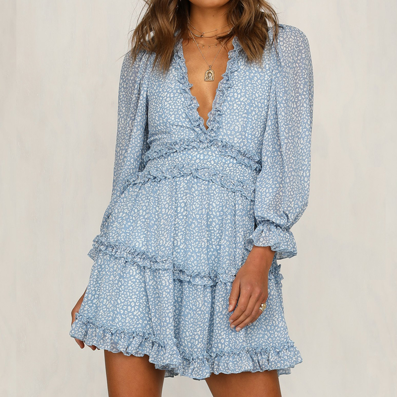 Summer Elegant Ruffles Print Mini Dress Women Sexy Halter V-neck Long-sleeved  Waist Puff Sleeve Dresses 2019 Women Sundresses