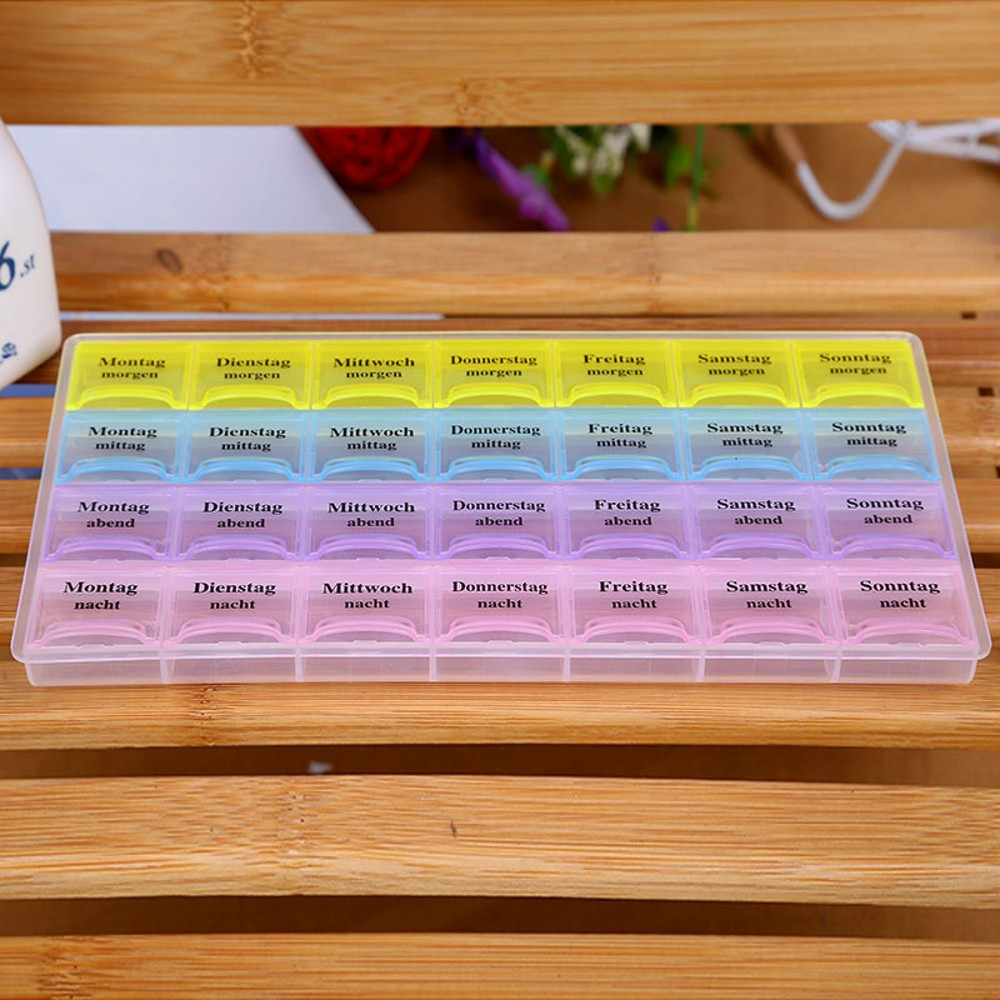 7 Day Pill Box 28 Grids Medicine Tablet Dispenser