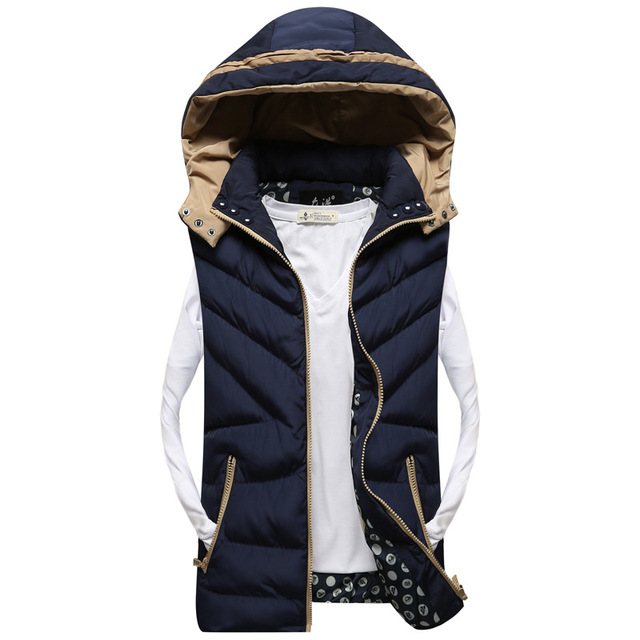 New Stylish Autumn Winter Vest Men High Quality Hood Warm Sleeveless Jacket Waistcoat Men (Asian Size)