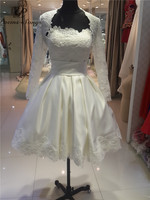 Ivory Lace Long Sleeve Corset Short Wedding Dresses 2014 Scoop Neckline Bridal Gowns Robe De Soiree