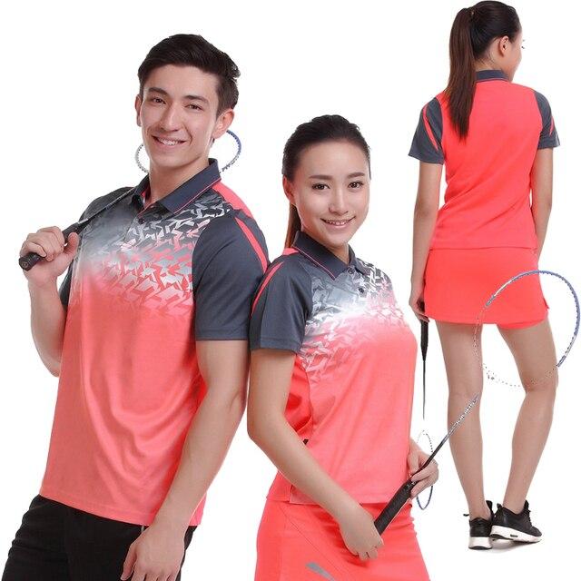 867b6593aa7cb 2017 mujeres hombres Tenis de Mesa ropa equipo manga corta POLO camisetas  corriendo deportiva de