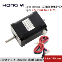 Free shipping hybrid stepper motor nema 17 motor 60mm (1.7A, 0.73NM, 60mm, 4 wire) 17HS6401S for 3D printer cnc
