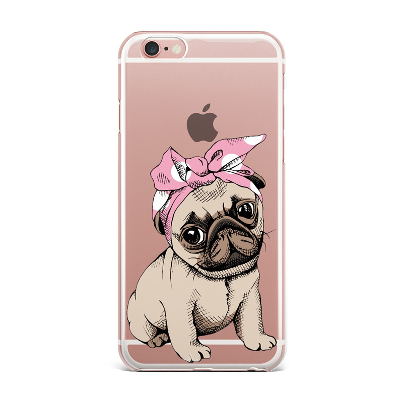 new arrival de054 5e545 US $1.99 30% OFF|Cute Pug Design Soft TPU Phone Cases For Apple iPhone X 5  5S SE 6 6S 7 8 Plus Clear Silicone Back Cover For iPhone 8Plus Coque-in ...