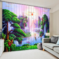 3D Printing Curtain Sunrise Fairyland Window Curtains Decorative For Bedding Room Sharon Thick Soft Backout Shade