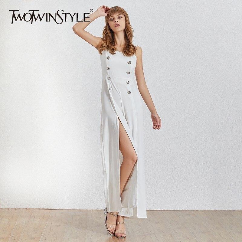 TWOTWINSTYLE Summer Sleeveless Women Jumpsuit Off Shoulder High Waist Button Split Wide Leg Pants Female Fashion 2019 New