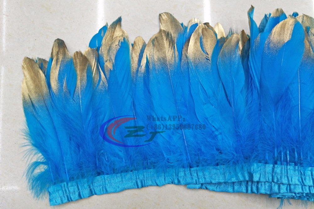 New Fashion Gold Tips Goose feather trims 2yards /lot Dyed geese feather ribbons /15-17nch Duck feather fringes Free shipping