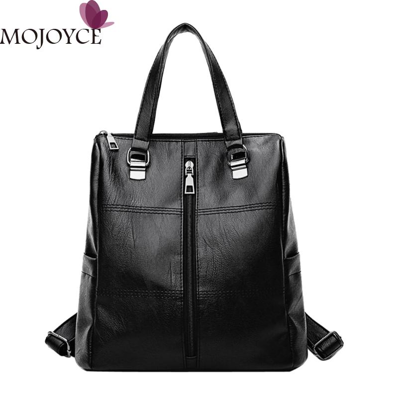 PU Leather Women Backpack Large Capacity Women Black Backpacks Fashion School Bags For Teenager Girls Casual Travel Daypack New