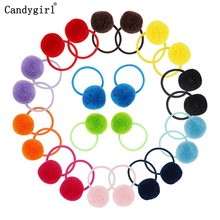 1pc Girls Womens Ponytail Holders Plush Ball Hair Ring Elastic Rope Tie Accessories Rubber Band Beaddress