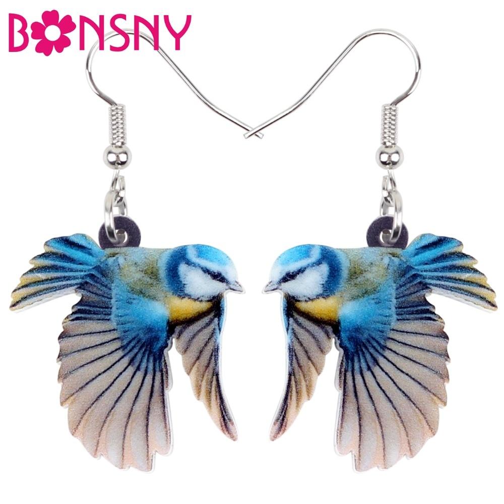 Bonsny акриловые милые серьги с синими птичками, большие длинные висячие серьги, модные украшения для женщин, девочек, подростков, детей, подве...