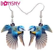 Brincos de pássaro bonsny, joias acrílicas adoráveis de pássaro, grande, pendurado, bijuterias de moda para mulheres, meninas, crianças, adesivos com animais presente