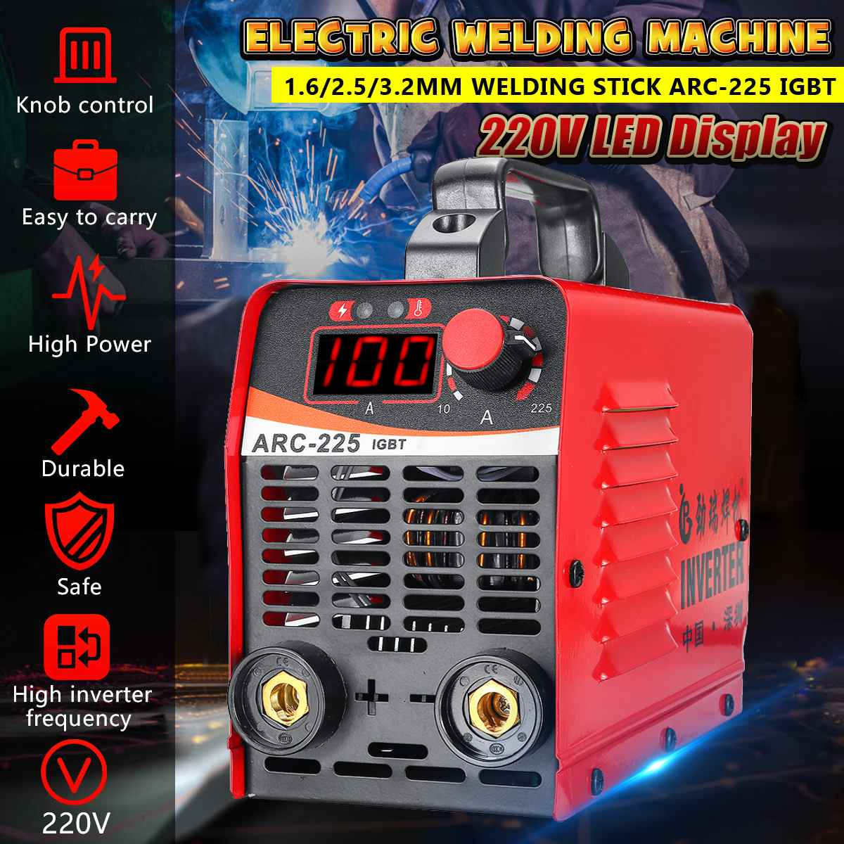 Upgraded 10-225A ARC-225 IGBT Copper Electric Welding Machine MMA Portable Welding Inverter With Digita Display