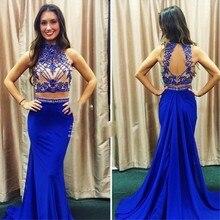 2016 heißer Verkauf Wunderschöne Abendkleid Mit Perlen Und Kristall lange Royal Blue Abendkleid Benutzerdefinierte vestido de festa gala jurken