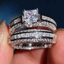 Роскошные ювелирные изделия Sz 5-10 10kt Белое Золото Заполненные 5A кубического циркония свадебные Обручальные кольца комплект для мужчин и женщин