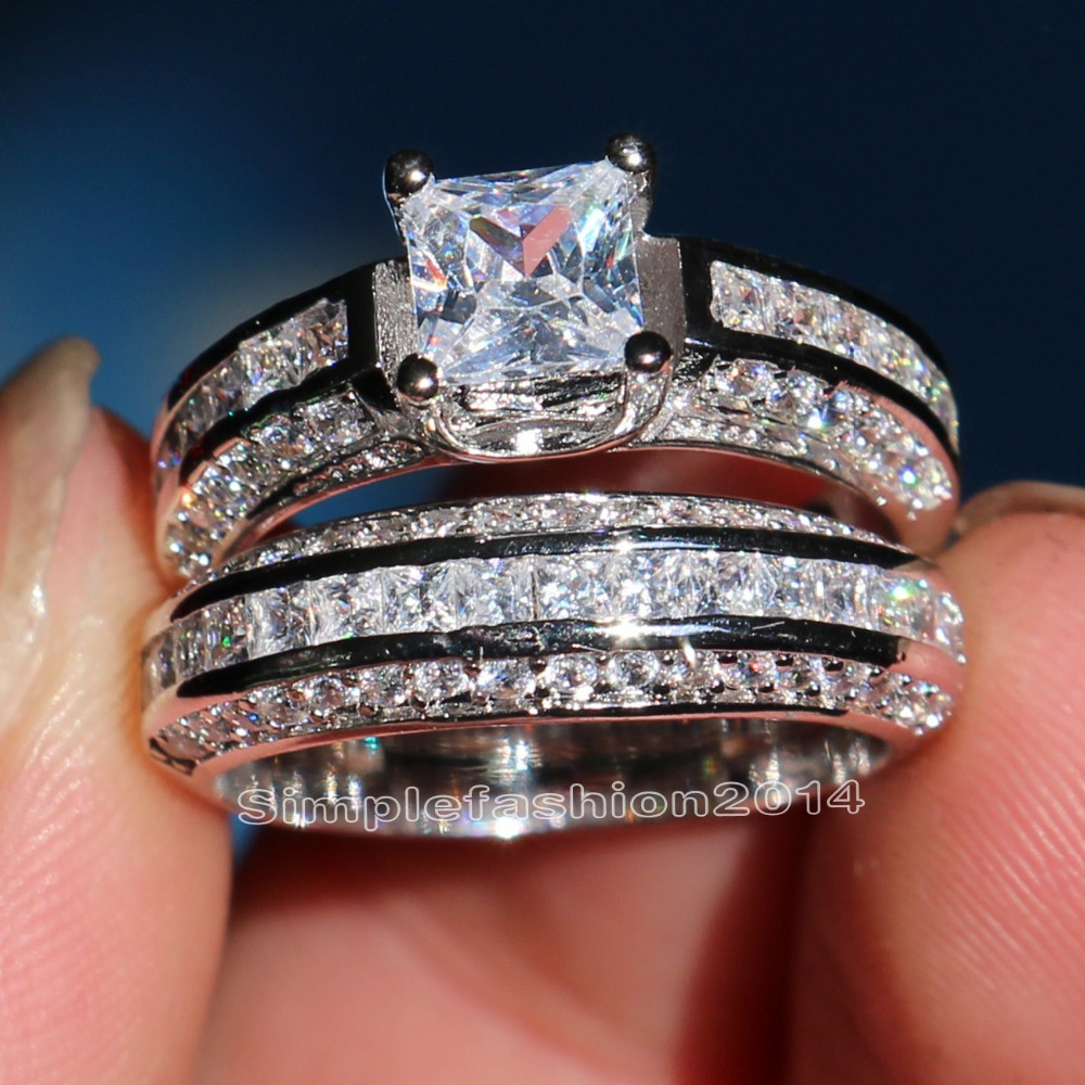 bling jewelry 2ct cz princess cut engagement wedding ring set sterling silver inexpensive wedding ring sets Bling Jewelry Sterling Silver 2ct CZ Princess cut Engagement Wedding Ring Set