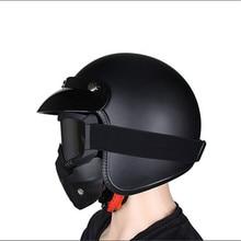 Metade Do Rosto do Capacete da motocicleta do vintage Capacete capacetes cascos para harley Chopper Cruiser Preto Fosco Retro Alemão DOT Approvel