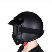 Motorrad Helm vintage Halbe Gesicht Helm Retro Deutsch Chopper Cruiser Matte Schwarz helme cascos para DOT Approvel