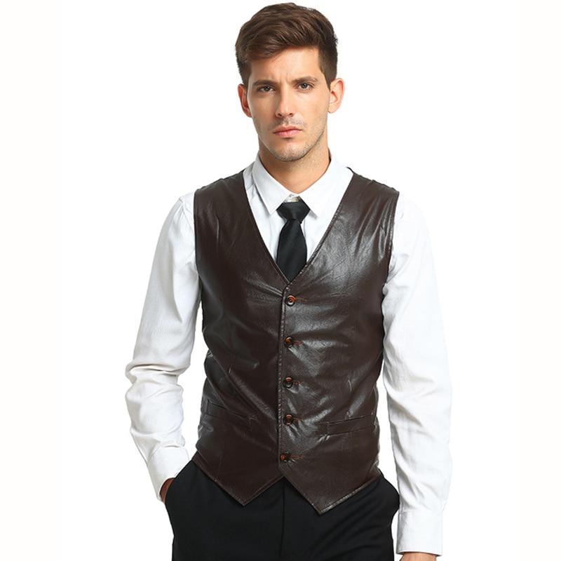 Tops Men's Suit Vest Waistcoats New Arrivals Smart Casual Style Business Casual Solid Color Sleeveless PU Leather Dress Vest Men