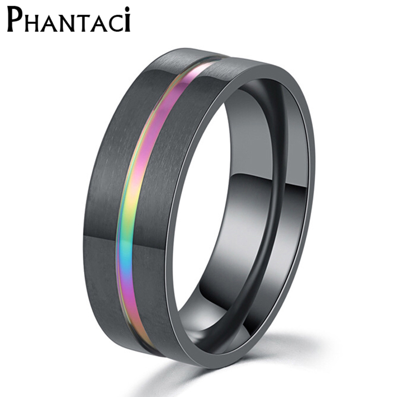 Phantaci 8 MM No Fade Stainless Steel Men Ring Black Fashion Male Cool Metal Jewelry Multicolor Titanium Ring Man