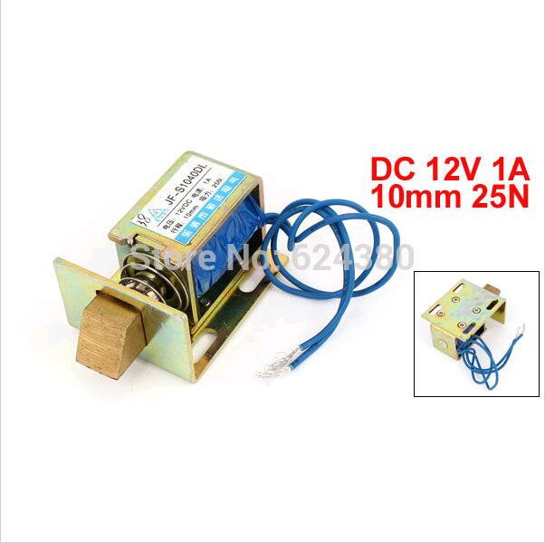 цена на Open Frame Pull Type Door Lock Solenoid Electromagnet 12V DC 1A 10mm Stroke 25N 2.5Kg 5.5Lb Force JF-1040DL