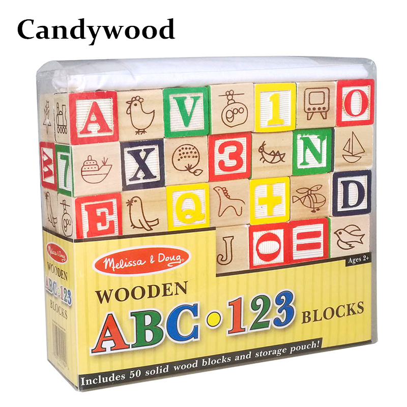 Candywood 50pcs/set Baby Colorful Wooden Numbers and letters Animal Building Blocks Children Early learning Educational Toys 50pcs hot sale wooden intelligence stick education wooden toys building blocks montessori mathematical gift baby toys