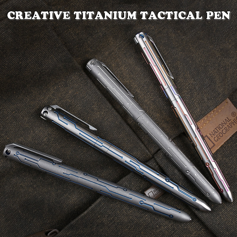 Vintage Titanium Tactical Pen Portable Self Defense Emergency Tool Outdoor Survival EDC Tool Christmas Gift Collectioni Pen