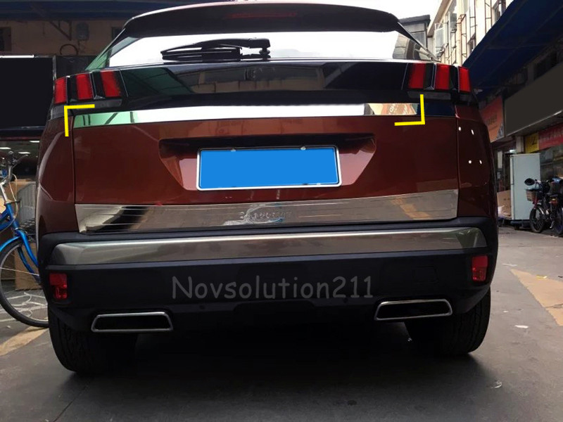 For Peugeot 3008 GT 2016 2017 Car Styling Exterior Rear Tail Gate Molding Trim Cover Trim