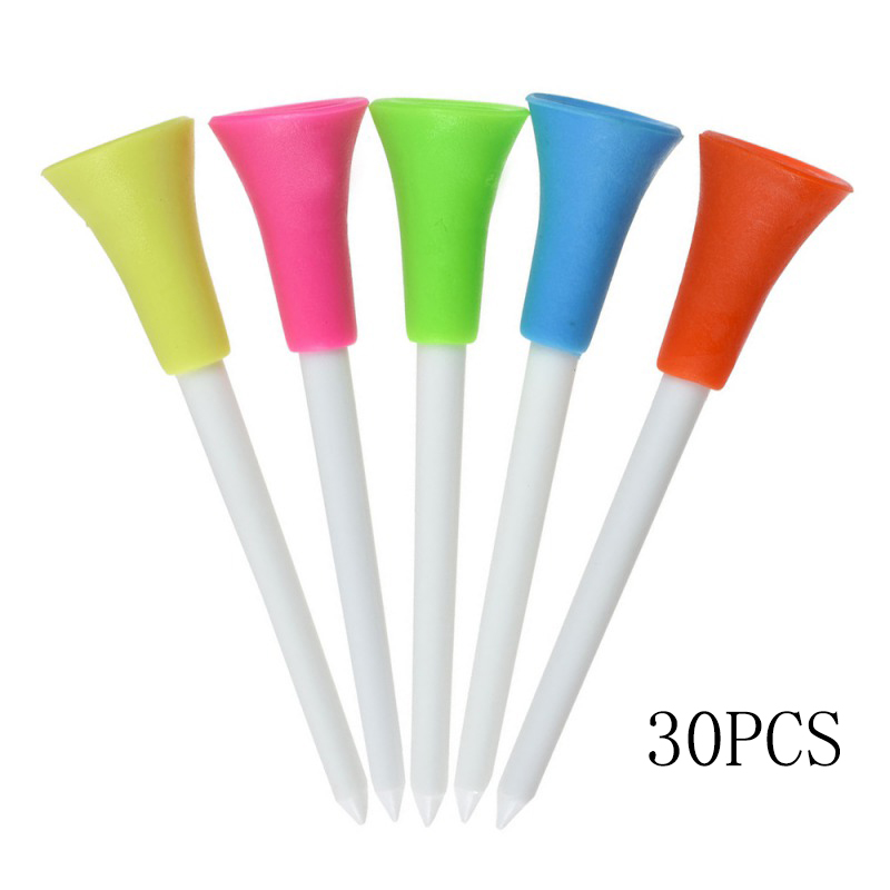 30pcs/lot Multi Color Plastic Golf Tees Rubber 83mm Cushion Top Golf Tee Golfer Training Accessories Outdoor Golf Aids