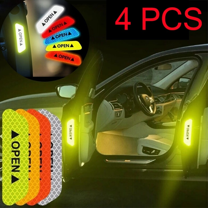 4Pcs Car Door Open Safety Warning Reflective Sticker Strong Reflector Anti-collision Strip