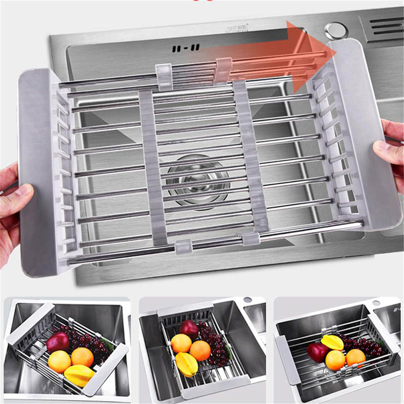 Retractable Sink Water Filter Rack Drain Basket Stainless Steel Kitchen Sink Dish Drainer Counter @LS